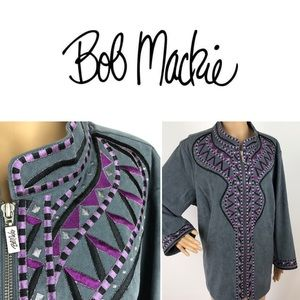 Bob Mackie Grey Embroidered Faux Suede Jacket 2X